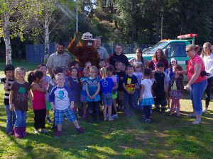 Group of Kids with Smoky the Bear